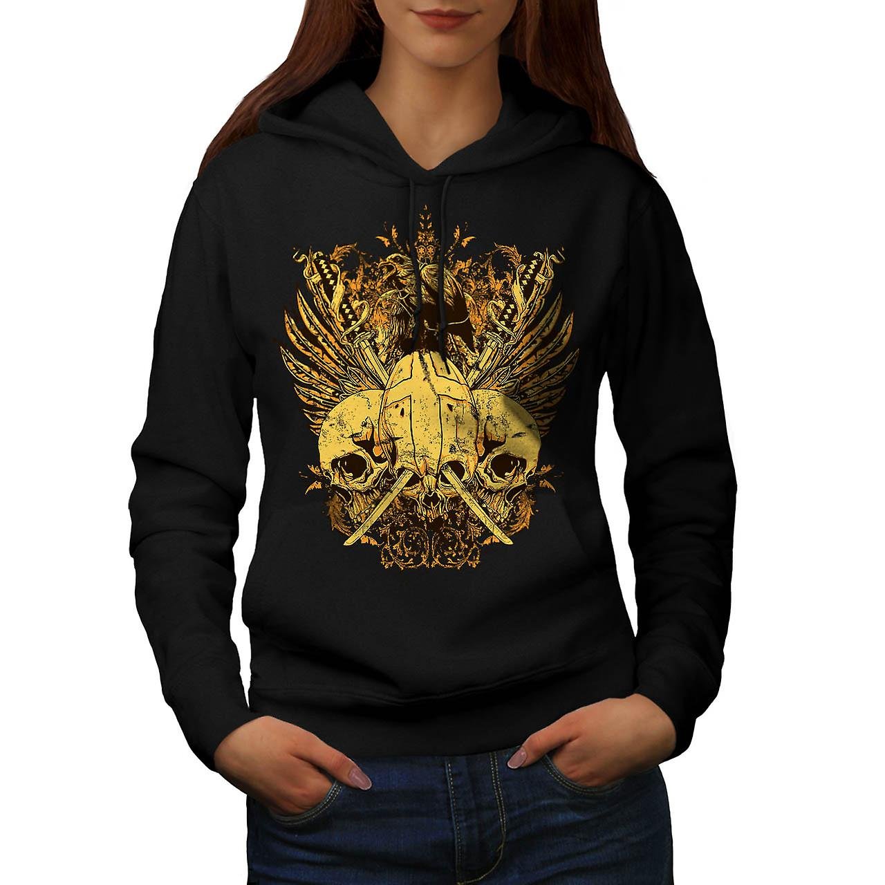 Skull Sword Fight Axe Death Bird Women Black Hoodie | Wellcoda
