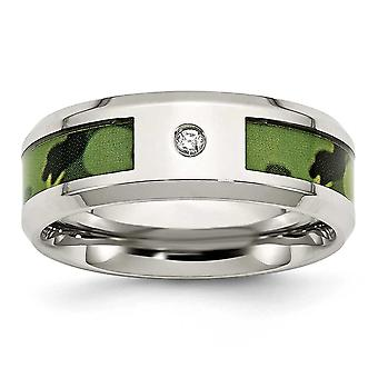 Rustfrit stål poleret Camouflage 0,035 ct. Diamant 8mm Band Ring - størrelse 11,5