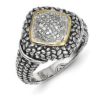 Sterling sølv med 14k 1/10 ct. Diamond Ring - Ring størrelse: 6-8