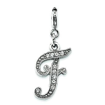 Silver-tone Crystal Initial F Spring Ring Charm