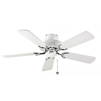 Ceiling Fan Mayfair white / steel with pull cord 107 cm / 42