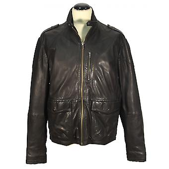 Pramir - men's jacket lamb nappa leather jacket biker leather jacket ShinyLook black