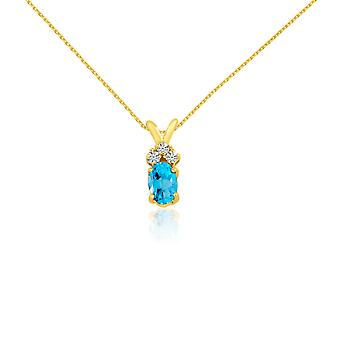 14K Yellow Gold Oval Blue Topaz Pendant with Diamonds and 18
