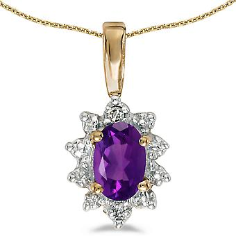14k Yellow Gold Oval Amethyst And Diamond Pendant with 18