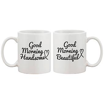His and Hers Coffee Mug Set - Good Morning Handsome, Good Morning Beautiful - Perfect Wedding and Anniversary Gift