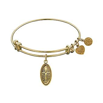Non-Antique  Smooth Finish Brass Cross In Oval Angelica Bangle Bracelet
