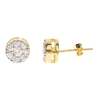 925 MICRO PAVE earrings - ROUND 8 mm gold