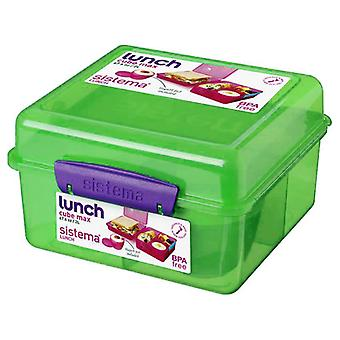 Sistema Lunch Cube Max Lunch Box with Yoghurt Pot, Green