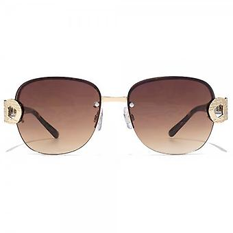Carvela Metal Link Temple Rimless Sunglasses In Light Gold Tortoiseshell