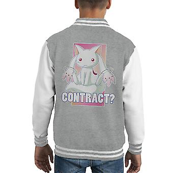 Kyubey Contract Puella Magi Madoka Magica Kid's Varsity Jacket