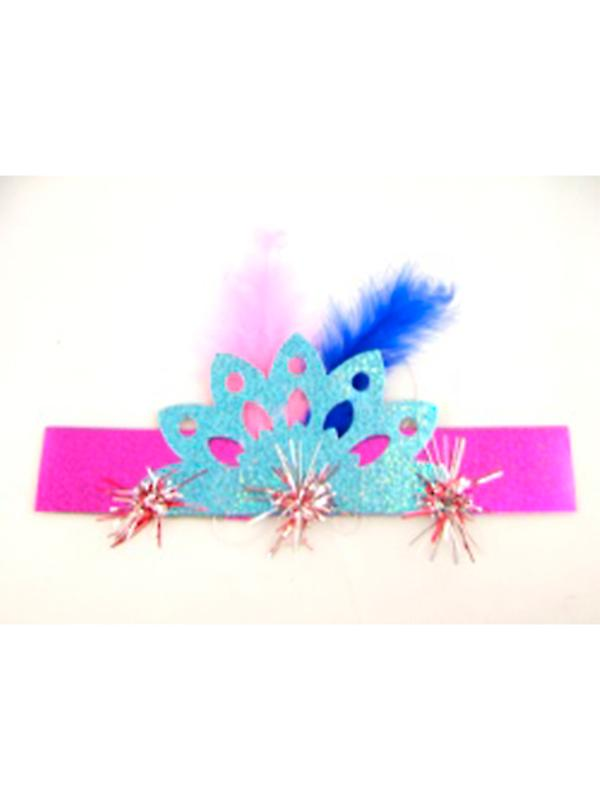 """Holographic Fringed Tiara 8"""" Assorted Colours"""
