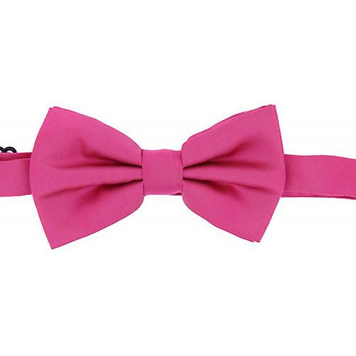 David Van Hagen Plain Satin Silk Bow Tie - Fuchsia