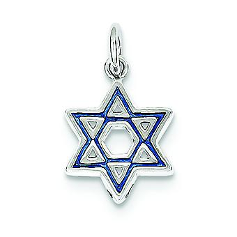 Sterling Silver Solid Rhodium Polished Rhod Enameled Blue Star Of David Pendant - 1.4 Grams