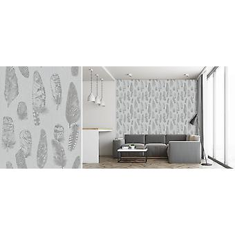 Leaf Leaves Feather Stripe Wallpaper Textured Embossed Grey Non Woven Erismann