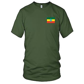 Etiopien land flagga - broderad Logo - 100% bomull T-Shirt Mens T Shirt