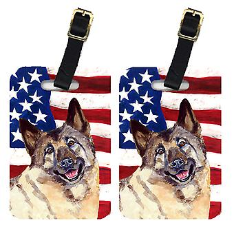 Pair of USA American Flag with Norwegian Elkhound Luggage Tags