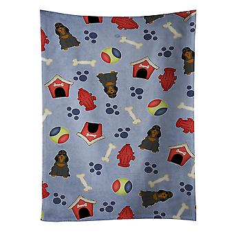 Dog House Collection Cocker Spaniel Black Tan Kitchen Towel