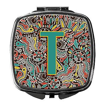 Letter T Retro Tribal Alphabet Initial Compact Mirror