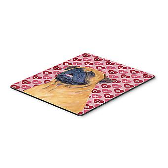 Mastiff Hearts Love and Valentine's Day Portrait Mouse Pad, Hot Pad or Trivet
