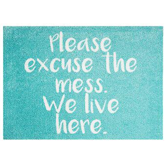 Washable mat rug excuse the mess mint blue 50 x 70 cm