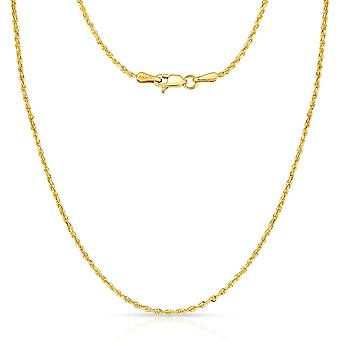 10k Fine Gold Thin Solid Diamond Cut Rope Chain Necklace, 1mm