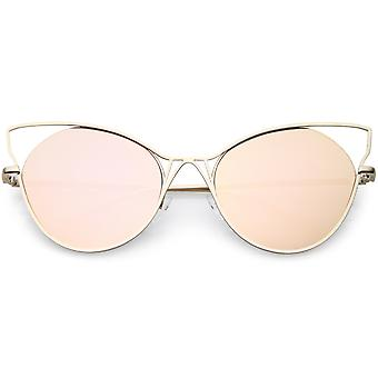 Oversize Cat Eye Sunglasses Semi Rimless Metal Cut Out Mirrored Flat Lens 60mm