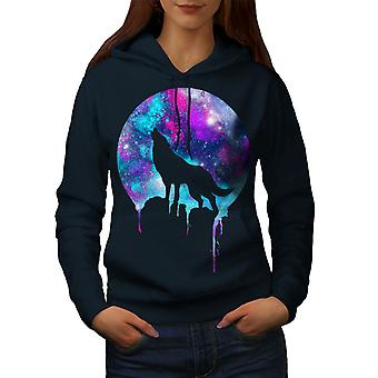 Forest Wolf Moon Light Women NavyHoodie | Wellcoda