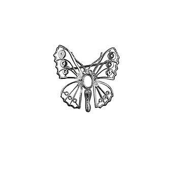 Broche de mariposa de plata 32x31mm