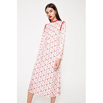Kubisk dragsko tryckt Midi Dress