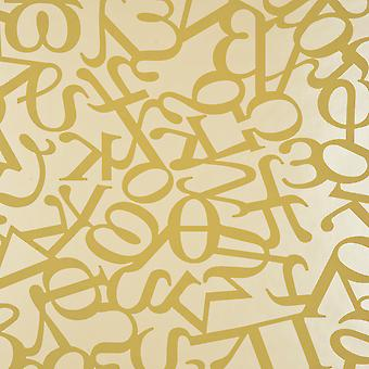 Graham & Brown Gold Wallpaper Roll - Patterned Flat Alphabet Design - 18272