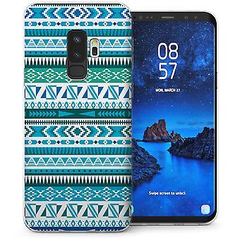 Samsung Galaxy S9 Plus jordiske Aztec Quilt TPU Gel sag-blå