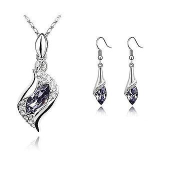 Womens flickor vackra ljus violett sten halsband och örhängen smycken Ställ  BGCW45 5bc308ad32cd4