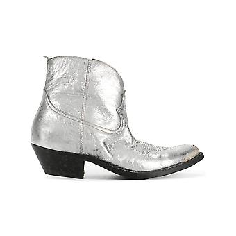Golden Goose women's G32WS274B9 Silver/Gold Leather ankle boots