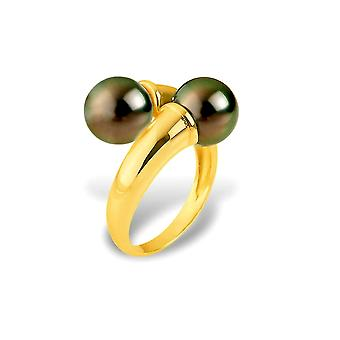 Double Pearls of Tahiti and Yellow Gold Ring 375/1000