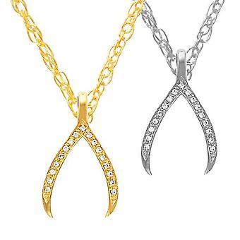 1 / 5ct Diamond Wishbone Ciondolo In oro bianco 14k & giallo oro 1