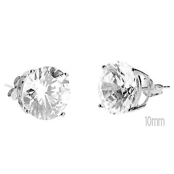 14 K White Gold iced out Stud Earrings - PRONG round