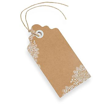 Kraft Brown Luggage Tags With Printed Lace trim Rustic Style Gift Tags x 10