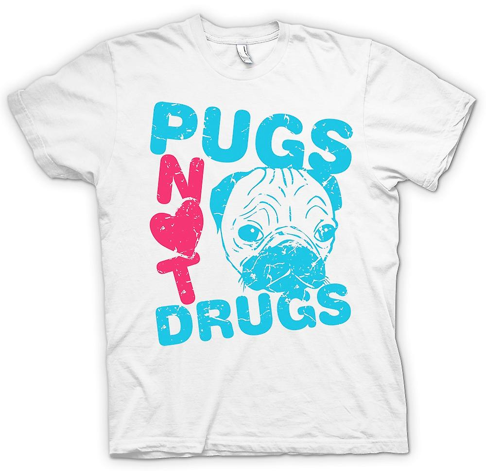 Womens T-shirt - Pugs Not Drugs Funny