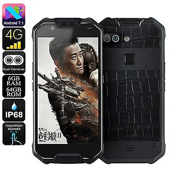 AGM X2 Rugged Phone - Octa-Core, Android 7.1, 6GB RAM, Dual-IMEI, 1080p Display, IP68 Waterproof, 4G, 12MP Dual-Camera (Leather)