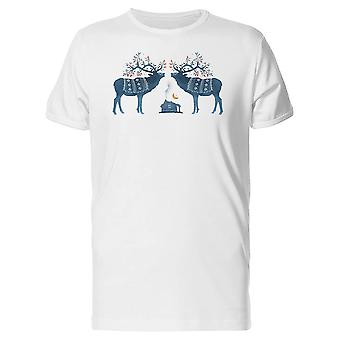 Two Black Reindeer Silhouettes Tee Men's -Image by Shutterstock