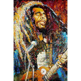 Bob Marley Farbe malen Poster drucken