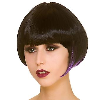 Adults Ladies Witch Short Bob Black & Purple Wig Halloween Fancy Dress Accessory