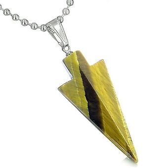 Amulet heldige charme pilespids Totem Tiger øje Gemstone held beskyttelse beføjelser vedhæng halskæde