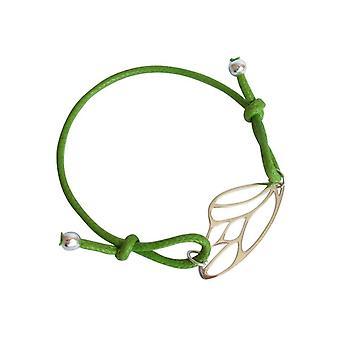 Gemshine - damas - pulsera - tamaño de ala - 925 plata - oro - verde - nudos mariposa ajustable