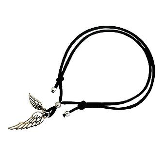 Gemshine - ladies - bracelet - WINGS - 925 Silver - Black - size adjustable