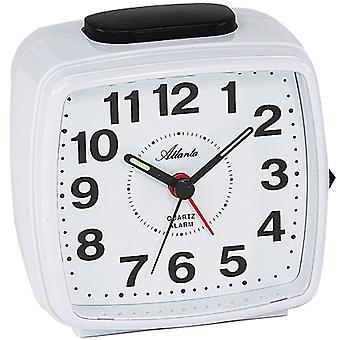 Atlanta 1561/0 clock quartz analog white rectangular square with light Snooze