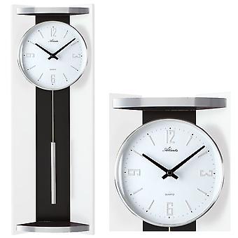 アトランタ 5083/0 壁時計水晶振り子ブラック ホワイトとアナログ