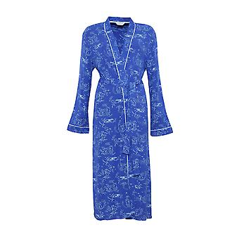 Cyberjammies 3886 Women's Elisa Blue Reindeer Print Dressing Gown Loungewear Bath Robe Robe