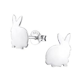 Rabbit - 925 Sterling Silver Plain Ear Studs - W24978x