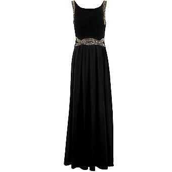 Beaded Diamante dames Trim zelf Tie V Zip terug Chiffon bekleed Prom Maxi jurk
